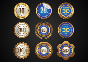 Free Glossy Anniversary Badges Vector - Free vector #374189