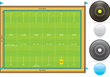 Lawn Bowl Court And Items - Free vector #374319