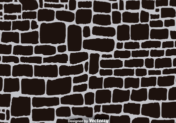 Black Cartoon Stone Wall Vector Background - Free vector #374329