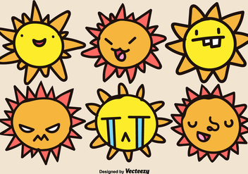 Cartoon Suns Vector Set - Kostenloses vector #374339