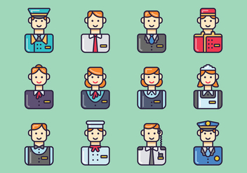 Set of Hotel Staff Vectors - vector gratuit #374839