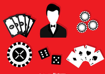 Casino Black And White Icons - Free vector #374969