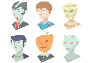 Halloween Mask Vector Set - Free vector #375559