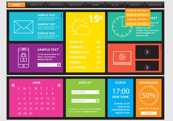 Web Template With Colorful Sections - Kostenloses vector #376389