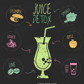 Detox juice chalk illustration - Free vector #376519