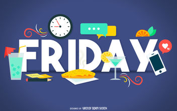 Friday happy hour banner - vector gratuit #376599