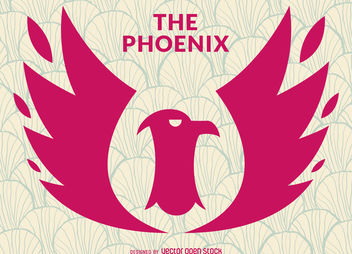 Phoenix bird logo stamp - Free vector #376959
