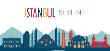Istanbul skyline silhouette - Free vector #376969