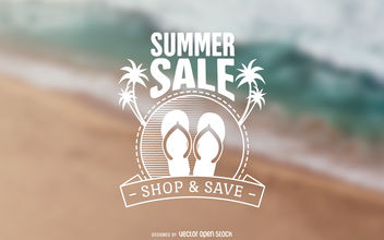 Summer sale beach label - Free vector #377059