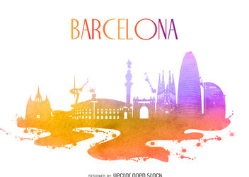Barcelona watercolor building silhouette - vector gratuit #377069