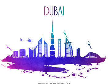 Dubai watercolor skyline silhouette - бесплатный vector #377209