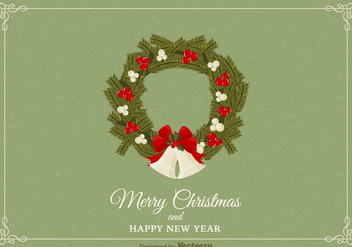 Free Christmas Wreath Vector Card - Kostenloses vector #377609