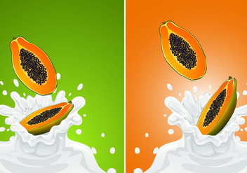 Vector Papaya Fruit With Milk - vector gratuit #377619