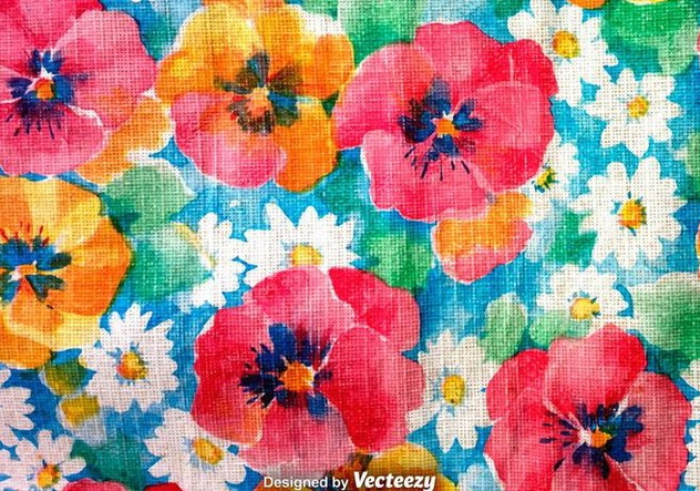 Hand Drawn Retro Colorful Flowers Background - Kostenloses vector #377729