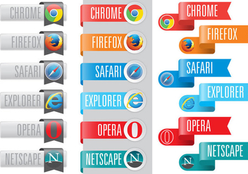 Web Browser Logos In Ribbons - Free vector #377909