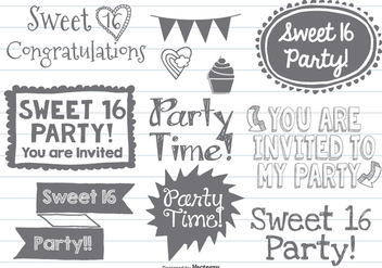 Sweet Sixteen Doodles - Free vector #377929