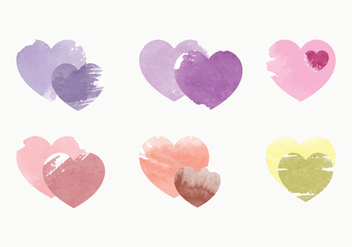 Vector Watercolor Heart Collection - vector gratuit #378749