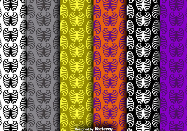 Rib Cage Icon Colorful Seamless Patterns Vector Set - бесплатный vector #378959