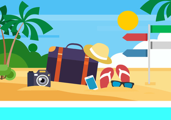 Free Summer Beach Vector Illustration - Free vector #379109