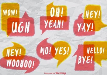 Speech Bubbles With Expressions - Vector Set - Free vector #379689
