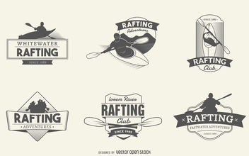 Rafting logo label set - vector gratuit #379809