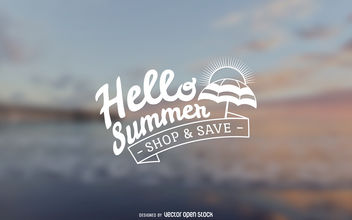 Hello summer sale sign - vector gratuit #379819