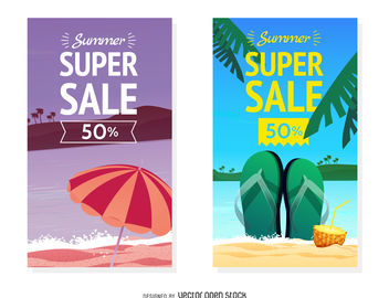 Summer sale banner set - vector gratuit #379889