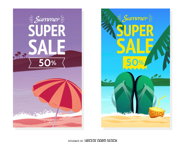 Summer sale banner set - Free vector #379889