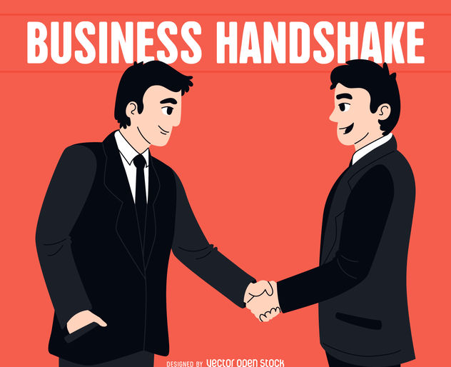 Men shaking hands illustration - Free vector #380069