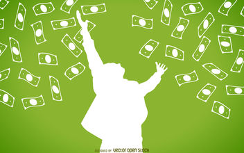 Falling cash with man silhouette - vector gratuit #380139