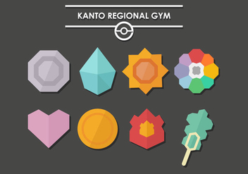 Pokemon Badges Kanto Vector - Free vector #380309