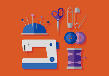 Vector Sewing Machine and Elements - vector gratuit #380379