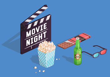 Movie Night Vector Elements - Free vector #380409