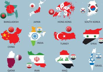 Asia maps - vector #380589 gratis
