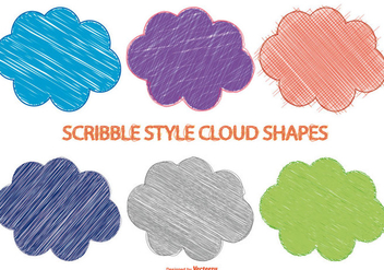 Scribble Style Cloud Shapes - Kostenloses vector #381319