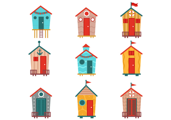 Free Various of Beach Hut Vectors - Free vector #381579
