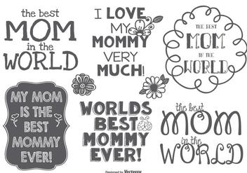 Best Mommy Hand Drawn Label Set - бесплатный vector #381599