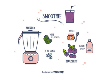 Blueberry Smoothie Vector - Kostenloses vector #381869