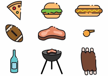 Minimalist Tailgate Icon Set - Free vector #382219
