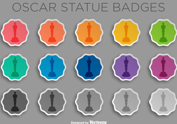Vector Sticker Set With Oscar Statue Icon/Silhouette - vector gratuit #382239