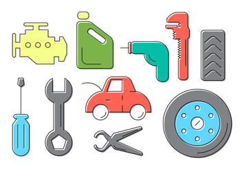 Car Service Icons - vector #382369 gratis