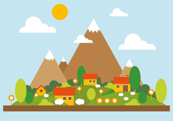Mountain Landscape Vector Illustration - бесплатный vector #382599