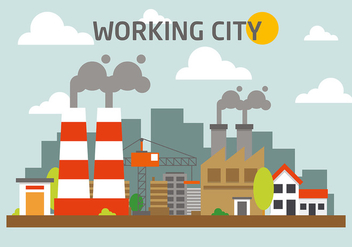 Free Industrial City Landscape Vector Illustration - Free vector #382779