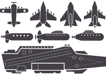 Free Silhouette AIrcraft Carrier and Jet Aircraft Vector - Free vector #382979