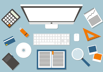 Free Business Manager Workspace Vector Illustration - Free vector #383319