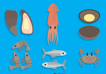 Seafood Collection Vector - vector #383649 gratis