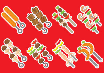 Brochette Kebab Vector Icons - бесплатный vector #383939