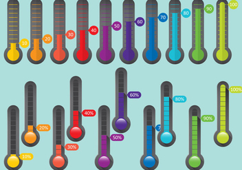 Colorful Percent Thermometers - Kostenloses vector #384099