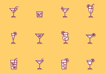 Cocktail Thin Line Icons - Free vector #384339