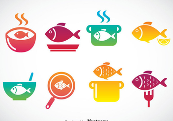 Cooking Fish Icons Set - vector gratuit #384349